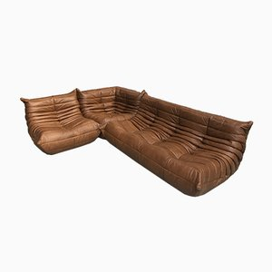Togo Leather Living Room Set by Michel Ducaroy for Ligne Roset, 1970s