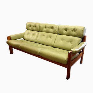 Sage Green Leather Sofa from Ekornes, 1960s