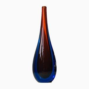 Jarrón vintage de cristal de Murano Sommerso de Flavio Poli para Seguso, años 60