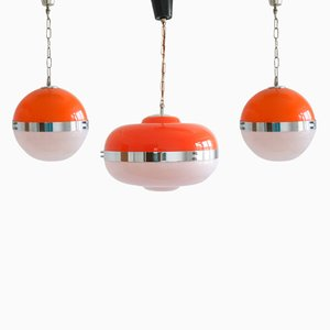 Lámparas colgantes UFO italianas era espacial de Meblo, años 60. Juego de 3