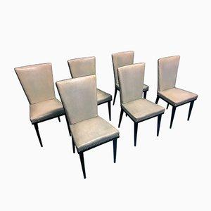 Mid-Century Esszimmerstühle mit weißem Kunstlederbezug von Vittorio Dassi, 1950er, 6er Set