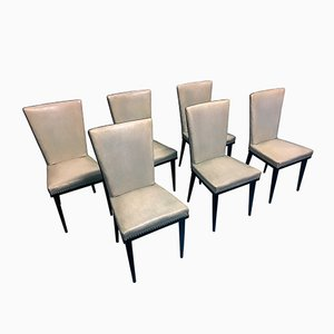 Mid-Century White Dining Chairs by Vittorio Dassi, 1950s, Set of 6