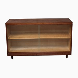 Mid-Century Teak Glass Fronted Bookcase Cabinet