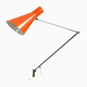Lámpara de pinza Mid-Century de latón, años 50