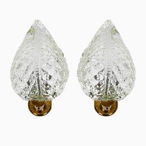 Apliques italianos de cristal de Murano de Barovier & Toso, años 60. Juego de 2