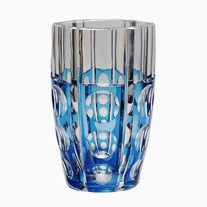 Large Art Deco Style Blue Cerbere Glass Vase by Charles Graffart for Val Saint Lambert, 1948