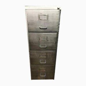 Schedario vintage industriale a quattro cassetti in metallo sverniciato