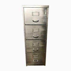 Schedario a quattro cassetti vintage industriale in metallo sverniciato, anni '70