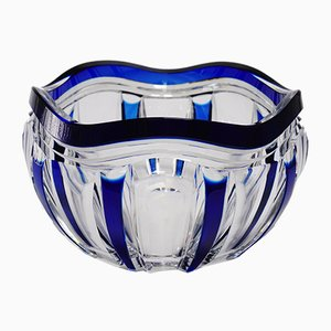 Art Deco Blue Overlaid Pietro Crystal Bowl by Joseph Simon for Val Saint Lambert