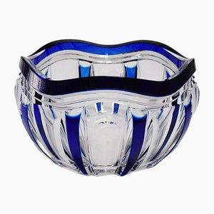 Blaue Art Deco Pietro Schale aus Kristallglas von Joseph Simon für Val Saint Lambert