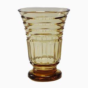 Art Deco Topaze Kristallglas Vase von Val Saint Lambert