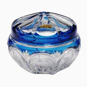 Art Deco Blue Glass Sweet Box from Val Saint Lambert