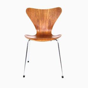 Silla modelo 3107 vintage de teca de Arne Jacobsen para Fritz Hansen