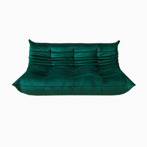 Togo 3-Seater Bottle Green Velvet Sofa by Michel Ducaroy for Ligne Roset, 1970s
