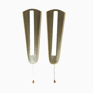 Lámparas de pared de aluminio anodizado dorado, años 50. Juego de 2