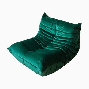 Togo Bottle Green Velvet Lounge Chair by Michel Ducaroy for Ligne Roset, 1970s