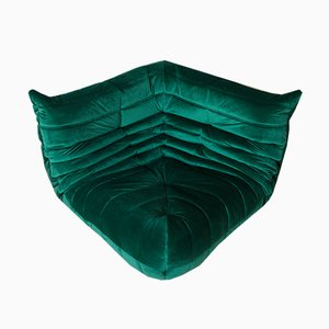 Sofá esquinero Togo esquinero de terciopelo verde botella de Michel Ducaroy para Ligne Roset, años 70