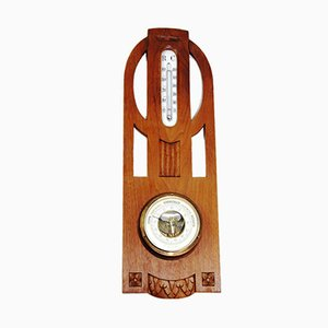 Art Nouveau Weather Station Thermometer with Barometer, 1900s