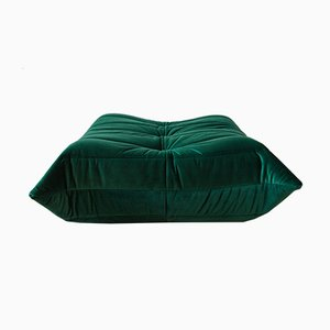 Togo Bottle Green Velvet Pouf by Michel Ducaroy for Ligne Roset, 1970s