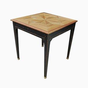 Tavolino vintage in quercia intarsiato, anni '40