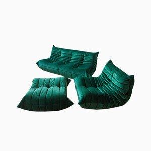 Vintage Bottle Green Velvet Togo Set by Michel Ducaroy for Ligne Roset