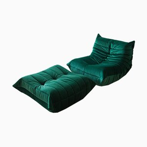 Vintage Bottle Green Velvet Togo Set by Michel Ducaroy for Ligne Roset