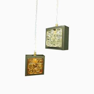 Lámparas colgantes pequeñas cúbicas, años 60. Juego de 2