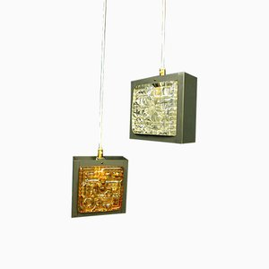 Small Cube-Shaped Pendant Lights, 1960s, Set of 2
