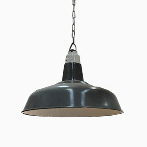 Industrial Ceiling Lamp with Gray Enamel, 1950s