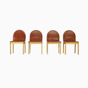 Chaises en Chêne & Cuir, 1970s, Set de 4