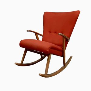 Mid-Century Swedish Wingback Rocking Chair, 1960s
