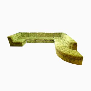 Sofá modular vintage de terciopelo verde lima