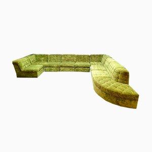 Vintage Lime Green Velvet Modular Sofa
