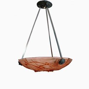 Art Deco Italian Murano Glass Ceiling Lamp, 1940s