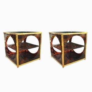 Vintage Tortoiseshell Cube Tables, 1970s, Set of 2