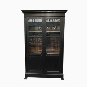 Antique Black Patinated Oak Cabinet