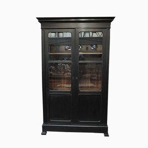 Antique Black Patinated Oak Cabinet