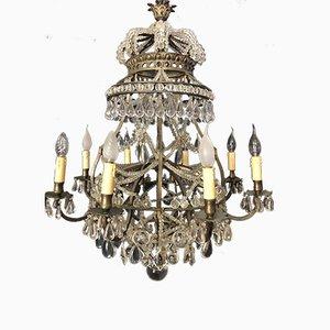 Lámpara de araña vintage con corona, años 20