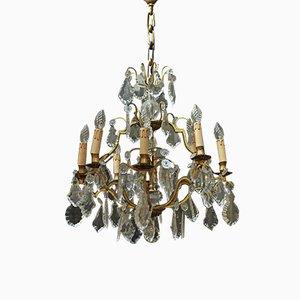 Lámpara de araña Mid-Century de cristal, años 50