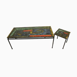 Vintage Tiled Coffee Table and Side Table Set by Juliette Belarti