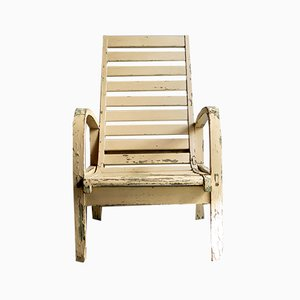 White Wooden Garden Armchair, 1930s