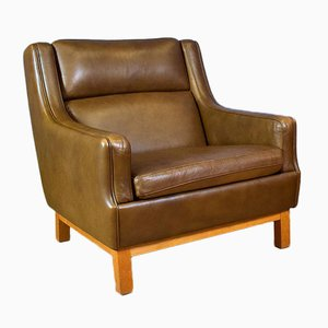 Mid-Century Danish Brown Leather Lounge Chair