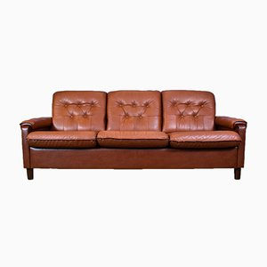 Mid-Century Danish Tan Brown Leather 3-Seater Sofa