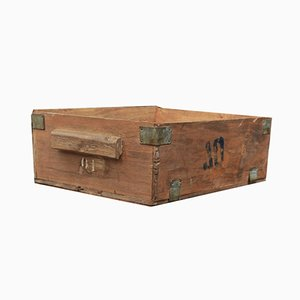 Caja de fábrica vintage de madera, años 40