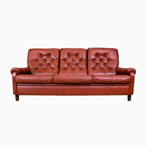 Vintage Red Leather 3-Seat Sofa