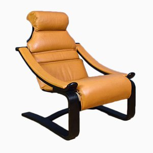 Mid-Century Swedish Tan Leather & Bentwood Lounge Chair