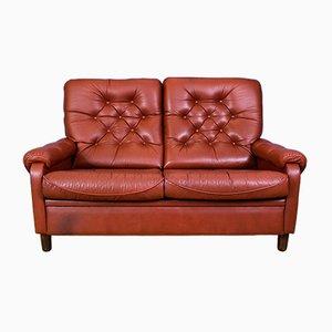 Sofá de dos plazas danés vintage de cuero rojo con respaldo alto