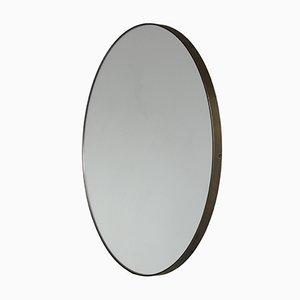 Großer runder versilberter Orbis Spiegel mit Bronzerahmen von Alguacil & Perkoff Ltd