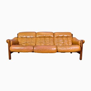 Mid-Century Swedish Caramel Leather 3-Seater Sofa, 1970s