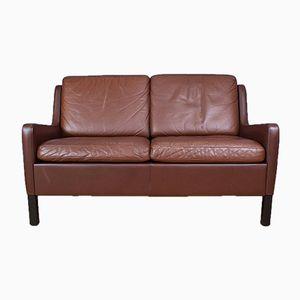 Braunes dänisches Mid-Century Leder 2-Sitzer Sofa, 1970er
